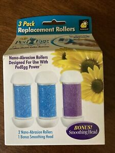 PedEgg Refill 3 Pack Replacement Rollers Cordless Electric Callus Remover NIB