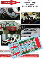DÉCALS  1/18 réf 847 Mitsubishi  Pajero Long  Masuoka Dakar 1990 N 232