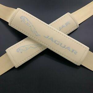 Beige Seat Belt Shoulder Pads Covers Silver & gray embroidery fits Jaguar 2PCS