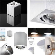 GU10 LED Deckenaufbauleuchte Strahler Quadrat Rund Aluminium 1.2  3  5  7 Watt