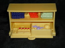 Fisher Price Loving Family Dollhouse Yellow Book Shelf Case Toy Drawer