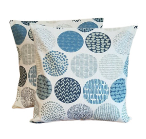 "14"" 16"" 18"" 20"" 22""  New Cushion Cover Indigo Blue Circle Design"