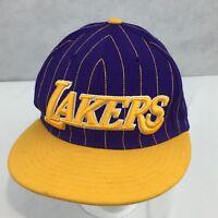 VTG Los Angeles Lakers Adidas 3D Logo SnapBack Hat Flat Brim Purple Yellow 80s