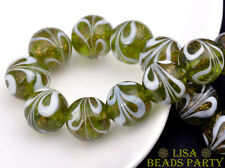 10pcs 12mm Olive Green Big Lampwork Crystal Glass Round Beads Free Shipping