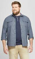 NEW Men's Big & Tall Standard Fit Denim Shirt - GoodfellowCo - 2XB - Bergen Blue
