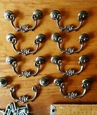 Lot of 12 Vintage Drawer Pulls Ornate Black & Brass Color 3