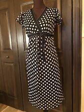 Japanese Weekend Maternity Black Sleeveless Polka Dot Maxi Dress Small 6 8 New