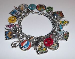 Grateful Dead Jerry Garcia Charm Bracelet Hand Crafted Glass Dome