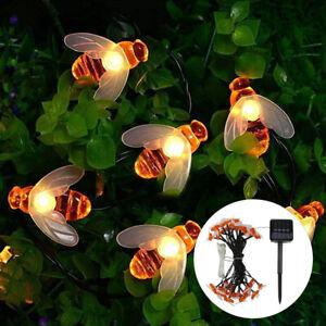 Solar Lichterkette Bienen Beleuchtung Lampe 60 LED Garten Party Außen Deko