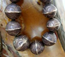 Vtg. NAVAJO Old Pawn EARLIER Hand Hammered STAMPED STERLING SILVER BEAD NECKLACE