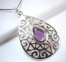 Amethyst Necklace 925 Sterling Silver Floral Accented Filigree Corona Sun New