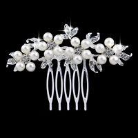 Rhinestone crystal pearl silver plated bridal hair comb hair accessories C