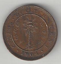 CEYLON, SRI LANKA, 1904, 1/4 CENT, COPPER, KM#100, CHOICE EXTRA FINE (001)