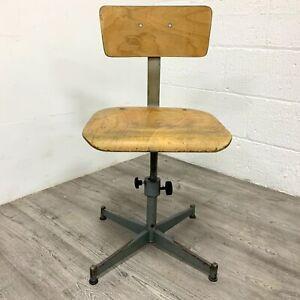 Vintage Industrial Adjustable  Draftsman Stool Swivel Desk Chair Plywood Steel
