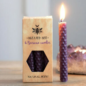 Pagan/Wiccan Pack Of 6 Beeswax Spell Candles ( Purple )