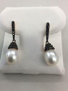 14kt Yellow Gold Pearl Drop Earring with Black Diamond