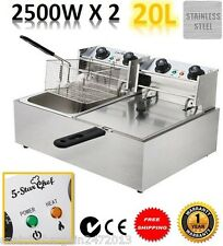 NEW 5 Star Chef Commercial Stainless Steel Deep Fryer W/ Twin Basket Bench Top