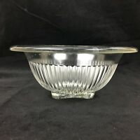 Vintage Hazel Atlas Aurora Clear Ribbed Depression Glass Mixing Bowl Square Base