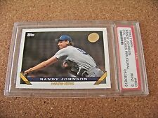1993 Topps card Randy Johnson Seattle Mariners #460 PSA 9 Rockies logo IBM
