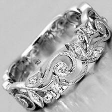 Exquisite Women's Silver Floral Flower Diamond Lucky Wedding Ring 6