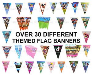 33 Different Themed Birthday Party Flag Bunting - Banner 2.5m long with 10 Flags