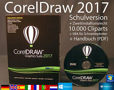 Corel Draw Graphics Suite 2017 Vollversion Box DVD Cliparts VBA Schulversion NEU