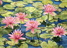 Pink Waterlily Garden Watercolor Painting Reproduction by Wanda's Watercolors