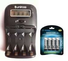 UNiROSS LCD 1-2 HOUR AA/AAA CHARGER & 4 x AAA 1100 mAh Rechargeable Batteries DM