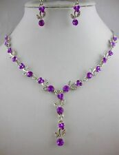 SILVER TONE  PURPLE CRYSTAL  NECKLACE AND  EARRINGS SET