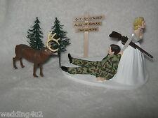 Wedding Redneck ~Git N Hitched Sign~ Big Buck Deer Camo Hunter Cake Topper