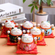 Maneki Neko Ceramic Lucky Cat Home Decor Fortune Money Fengshui Craft Porcelain