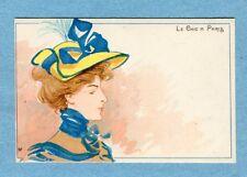 """A6050 Henri Meunier Postcard """"Le Chic A Paris""""  Chic in Paris, Woman, Yellow Hat"""