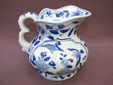 Vintage Chinese Porcelain Blue White Hand Painted Floral Flowers Birds Pitcher