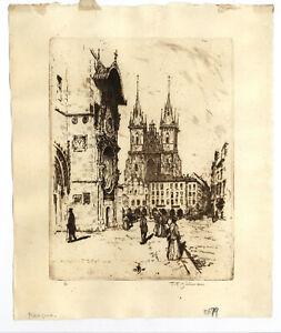 Simon, Tavik Frantisek (1877-1942) - Etching of Prague