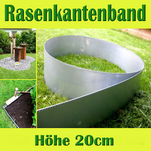 Aluzink Rasenkantenband Metall Beeteinfassung Rasenkante Mähkante 20 cm hoch