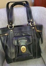 Coach Black GIGI legacy Leather FUCHSIA pink interior Tote shopper handbag 12888