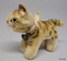 Steiff Tapsy Tabby Cat Standing Mohair Plush 8cm 3in Orig Bell Ribbon 1960s Vtg
