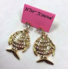 NWT Betsey Johnson FISH EARRINGS crystal studded goldtone BIG KISS LIPS  rare