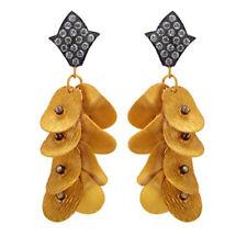 22K Gold Plated Gemstone Chandelier Earrings Designer Fashion Brass Jewelry