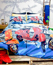 Retro Home Vintage Scooter Printed Double Bed Quilt Cover Set New