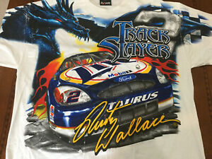 VINTAGE NASCAR Total print RUSTY WALLACE Miller Racing Shirt NIP XL Dragon Chase