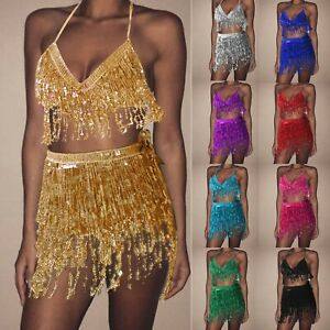 Women Sequin Belly Costume Tassel Wrap Mini Skirt Club Dancing Tops Skirts Set