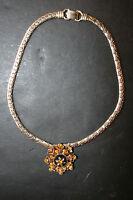 Vintage Coro Amber Rhinestone Necklace