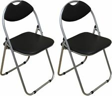 Folding Chairs Padded Faux Leather Studying Dining Office Event Chair Black X2