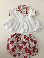 Monnalisa Baby Girls Outfit, Size 9 Months, Shorts, Shirt, White, Immaculate