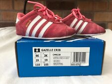 Adidas Gazelle Crib shoes, size 4k, pink, w/box, crep protected, EXCELLENT CON.
