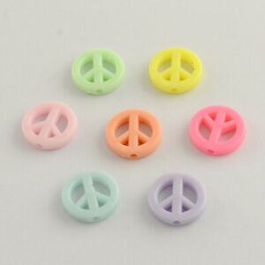 80pcs Opaque Acrylic Pastel Mixed Colors Peace Sign Beads Charm 16x3mm USA