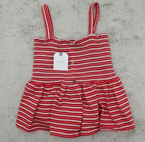 NEXT Striped Vest Strappy Shirred Summer Top Cami T-shirt Girls Pink 5-6 years