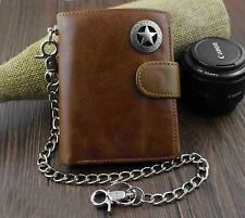 Men's Genuine Leather Biker Texas Star Zipper Card /Money Chain wallet Purse