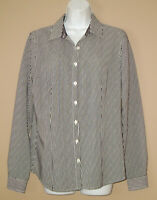 Van Heusen Womens Size Medium Long Sleeve Fall Black Striped Blouse Top Shirt